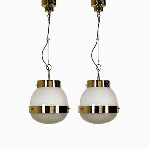 Delta Grande Glass and Brass Pendant Lights by Sergio Mazza for Artemide, 1960s, Set of 2