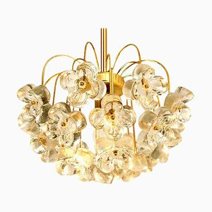Glass and Brass Chandelier from Sische, 1960s