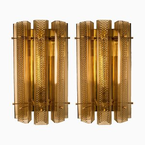 Large Murano Wall Sconces in Glass and Brass, Set of 2