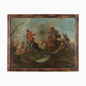 Scena della battaglia, olio su tela, XVII secolo