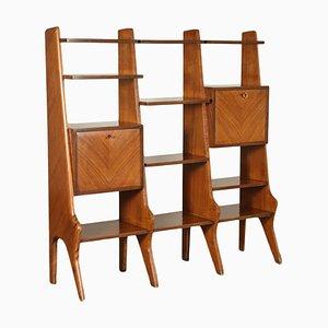 Libreria impiallacciata in legno, Italia, anni '50