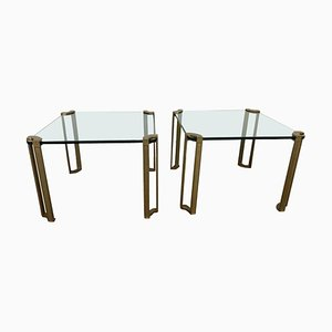 Brass and Glass Coffee Tables by Peter Ghyczy, 1970s, Set of 2