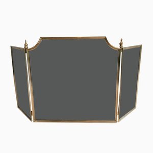 Neoclassical Style Brass and Grilling Fireplace Screen, France, 1970s