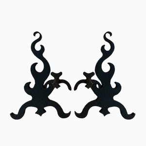 Cast Iron and Wrought Iron Andirons, France, 1940s, Set of 2