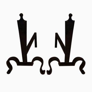 Steel and Wrought Iron Andirons, France, 1940s, Set of 2
