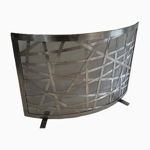 Brushed Steel Fireplace Screen, France, 1970s