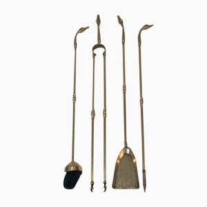 Brass Duck Heads Fireplace Tools, France, 1970s
