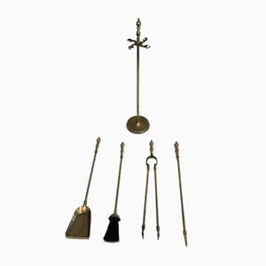 Neoclassical Style Brass Fireplace Tools on Stand, France, 1970s