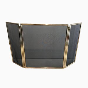 Brass and Grilling Folding Fireplace Screen, France, 1970s