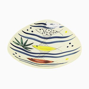 Ceramic Dish with Fish Motives by Inger Waage for Stavangerflint, Norway, 1950s