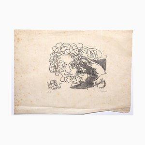Mino Maccari, ritratto femminile, Litografia, anni '60