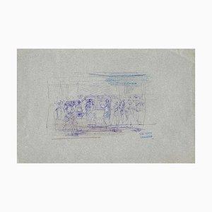 Lucien Alphonse Gros, People In the Room, Dessin à l'Encre, Début 20ème Siècle