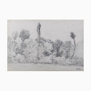 Marie Hector Yvert, Black and White Landscape, Pencil, 19th Century