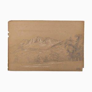 Marie Hector Yvert - Alpine Landscape - Original Bleistiftzeichnung - 19. Jahrhundert