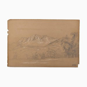 Marie Hector Yvert - Alpine Landscape - Original Pencil Drawing - 19th Century