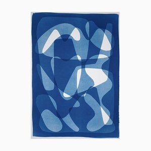 Mid-Century Geometric Blue Tones Cyanotype Print, Cutout Shapes On Paper, 2021