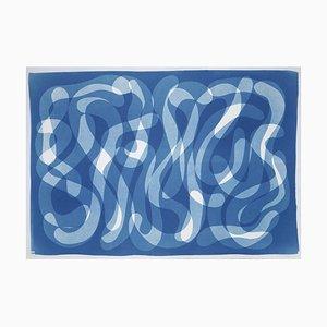 Extra Large Handmade Cyanotype Print of Blue Abstract Calligraphy, Zen Monotype 2021