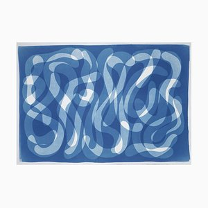 Großer Handgefertigter Cyanotypie Druck von Blue Abstract Calligraphy, Zen Monotype 2021