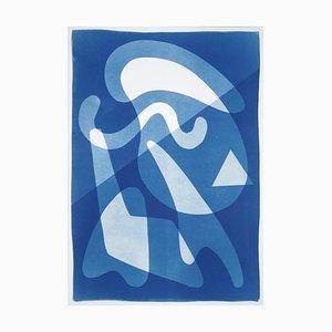 Retro futuristische Formen in blauen Farbtönen, extra große Cyanotypie Monotypie, glatt 2021