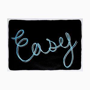 Einfache, schwarzer Hintergrund Kalligraphie Malerei auf Papier, WordArt, Himmelblau, Grau, 2021