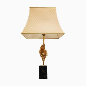 Vintage Messing Sea Shell Tischlampe, 1970er