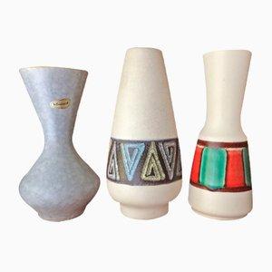 West German Hand Made Ceramic Fat Lava Vases, Set of 3