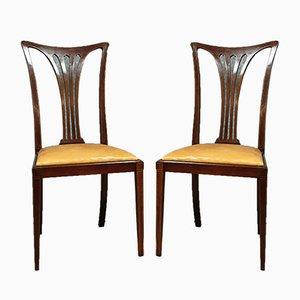 Art Nouveau Mahogany & Lemon Wood Dining Chairs, Set of 2, Circa 1900