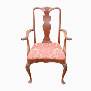 Pink Floral & Mahgany Armchair, 1880s