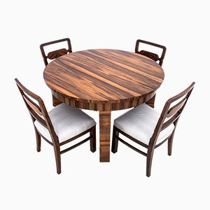 Polish Art Deco Dining Table & Chairs, 1950s, Set of 5