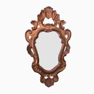 Specchio piccolo in legno dorato, anni '40