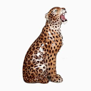 Mid-Century Modern Italian Ceramic Sculpture of a Seating Leopard, 1970s