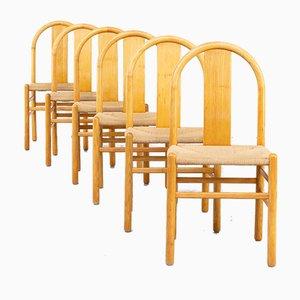 Holz Esszimmerstühle von Annig Sarian für Tisettanta, 1980er, 6er Set