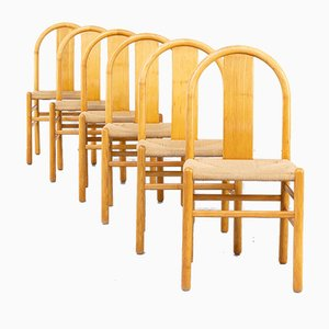 Wooden Dining Chairs by Annig Sarian for Tisettanta, 1980s, Set of 6