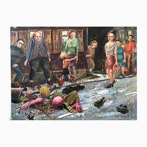 Janis Straupe, Vintage Gemälde Unfall, Lettland, 1982, Öl auf Karton