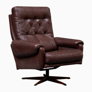 Danish Rosewood & Brown Leather Swivel Chair, 1970s