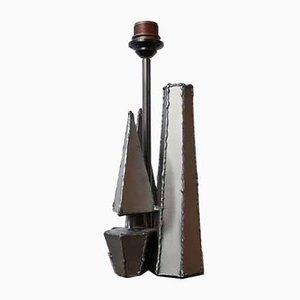 Brutalistische Vintage Belgische Geometrische Metall Tischlampe