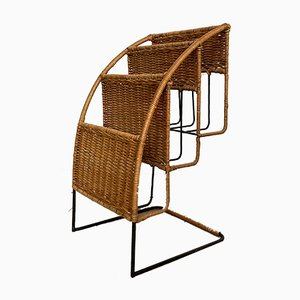 Mid-Century french Black Rattan & Metal Magazine Rack by Raoul Guys, 1950s