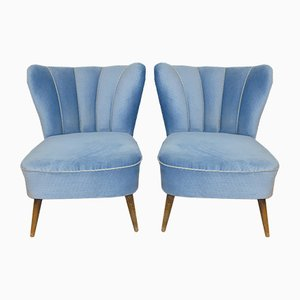 Light Blue Reupholstered Cocktail Chair, 1950s