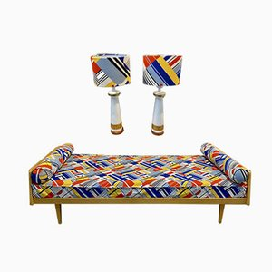 Daybed with Matching Lamps, 1950s, Set of 3