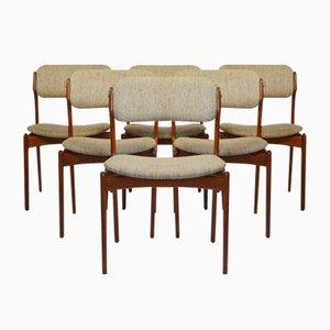 Chaises de Salon Modèle 49 en Teck par Erik Buch pour Odense Maskinsnedkeri, 1950s, Set de 6