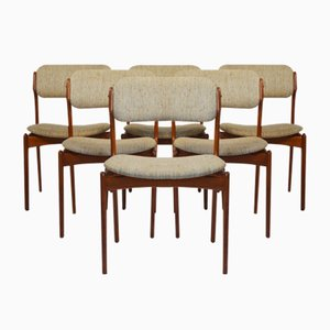 Teak Model 49 Dining Chairs by Erik Buch for Odense Maskinsnedkeri, 1950s, Set of 6