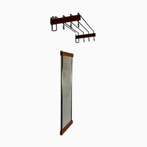 Scandinavian Coat Rack & Mirror, 1950s, Set of 2