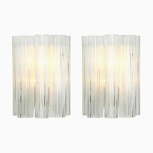 Große Deutsche Murano Glas Wandlampen von Doria Leuchten, 1960er, 2er Set