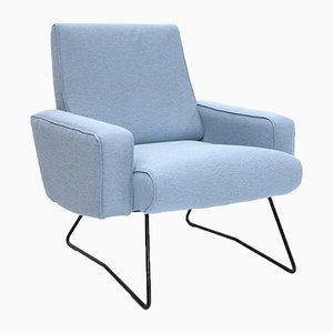 Light Blue Fabric Armchair, 1960s