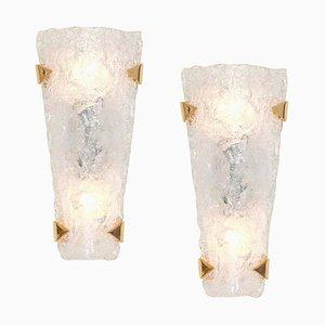 Große Deutsche Murano Glas Wandlampen von Egon Hillebrand für Hillebrand Lighting, 1960er, 2er Set
