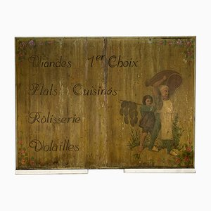 Antikes Delikatessenschild aus Pinienholz, 1900er