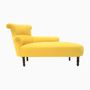 Louis Philippe Style Yellow Fabric Chaise Longue, 1800s