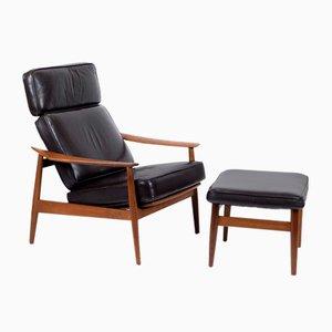 FD164 Teak Lounge Chair and Ottoman by Arne Vodder for France & Søn / France & Daverkosen, 1960s, Set of 2