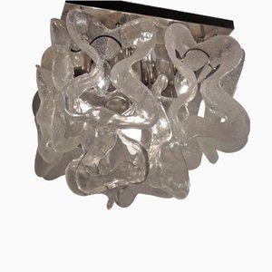 Lámpara de techo de cristal hielo de Murano, 1970