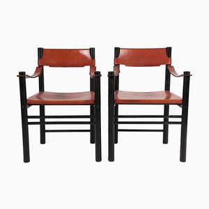 Italian Black Lacquered Beech & Cognac Leather Armchair from Ibisco Sedie, 1970s